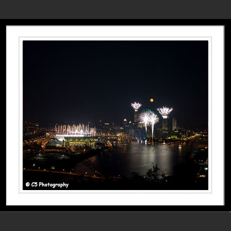 Matted unmatted, or framed Photograph of fireworks over Three Rivers