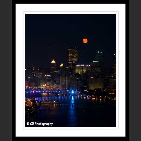 Pittsburgh PA Cityscape with Full Moon photo