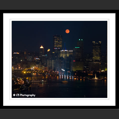 Full Moon over Downtown Pittsburgh