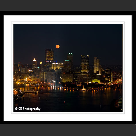 Full moon over Pittsburgh and Three Rivers