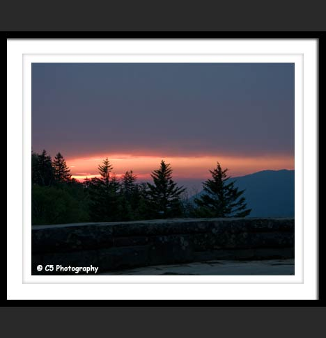 Great Smoky Mountain overlook Sunset color Photo